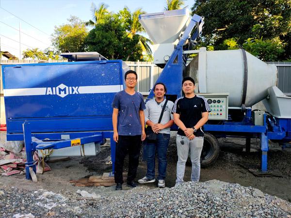 Филиппины: дизельная бетономешалка с насосом